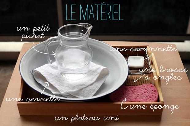 materiel montessori laver mains