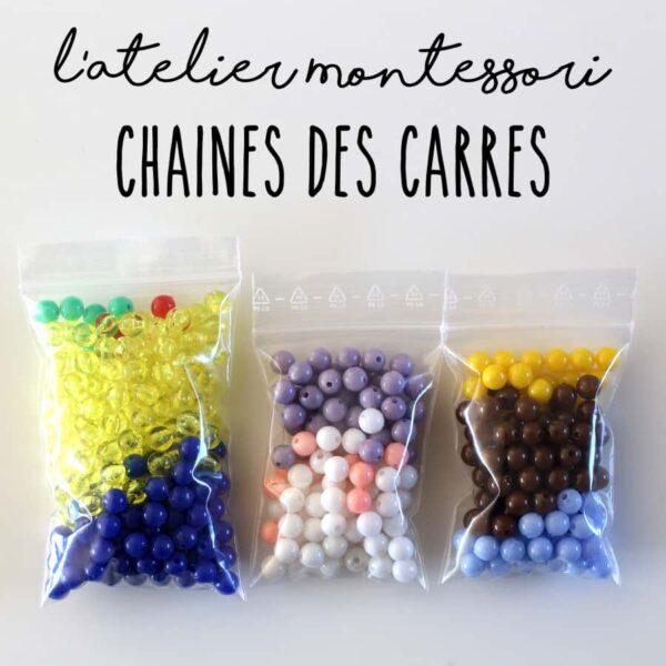 perles chaines des carrés montessori