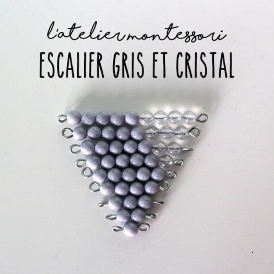 escalier perles montessori gris + cristal