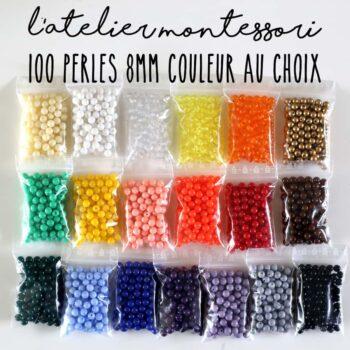 100 perles Montessori 8 mm