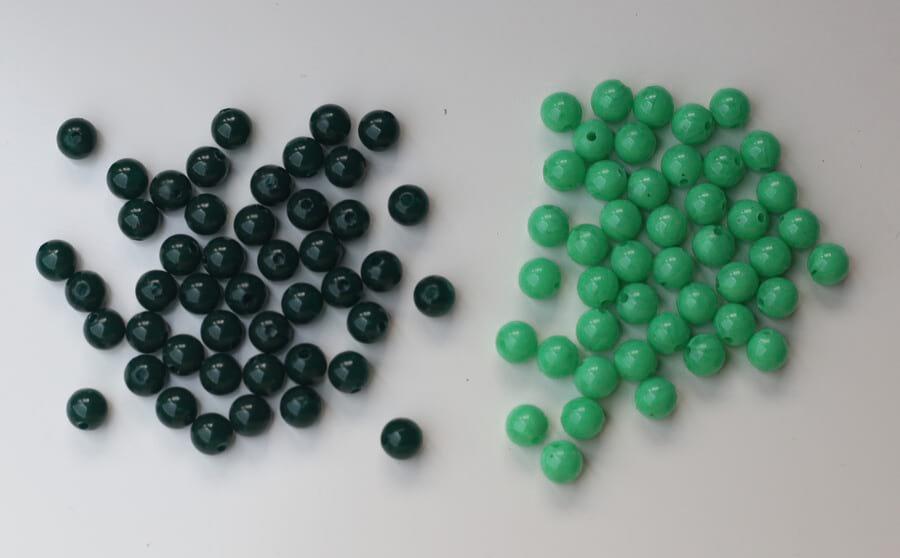 perles montessori vert foncé clair