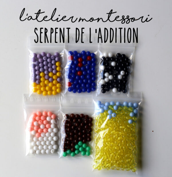 perles serpent de l'addition Montessori